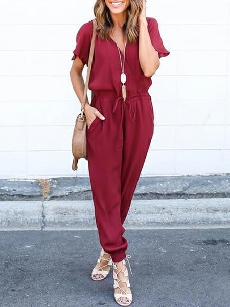 Red Slim Siamese Cross V Neck Band Adjustable Waist Beam Foot Two Piece Jumpsuit for Casual Party