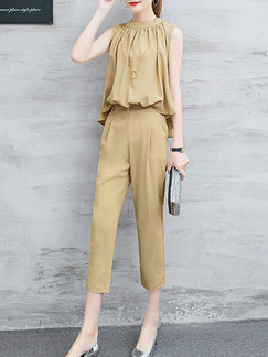 Beige Two-Piece Plus Size Stand Collar Pleated Asymmetrical Hem Zipper   Jumpsuit for Casual Office