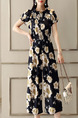 Blue Chiffon Slim Printed Laced Boat Collar Adjustable Waist Wide-Leg Siamese Floral Off Shoulder Jumpsuit for Casual Party