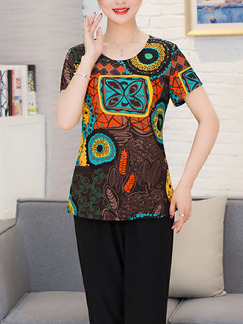 Black Colorful Two-Piece Plus Size Loose Printed Round Neck Linking Printed Legs Jumpsuit for Casual