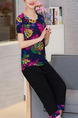 Black Blue Colorful Two-Piece Plus Size Loose Printed Round Neck Linking Printed Legs Jumpsuit for Casual