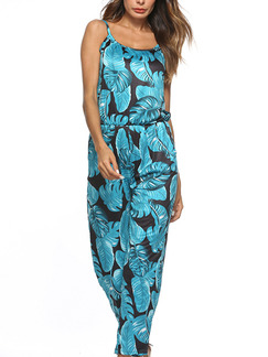 Black and Blue Slim Sling Printed Siamese Square Collar Adjustable Waist Pockets Tropical Jumpsuit for Casual Beach
