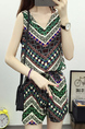 Colorful Chiffon Two-Piece Shorts Slim Sling Printed V Neck Adjustable Waist Band Belt Jumpsuit for Casual Party