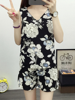 Black and White Chiffon Two-Piece Shorts Floral Slim Sling Printed V Neck Adjustable Waist Band Jumpsuit for Casual Party