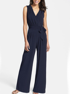 Navy Blue Slim Wide-Leg Siamese Jumpsuit for Casual Party