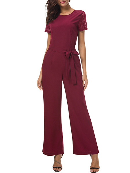 Wine Red Slim Wide-Leg Siamese Jumpsuit for Casual Party