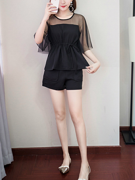 Black Loose Linking Mesh Wide-Leg Two-Piece Shorts Jumpsuit for Casual Party