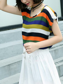 White and Colorful  Loose Contrast Stripe Two-Piece Shorts Jumpsuit for Casual Party