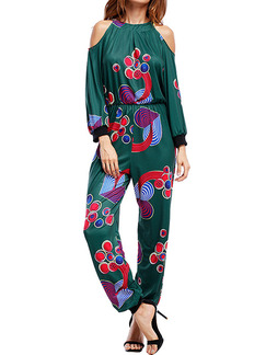Dark Green Colorful Slim Printed Off-Shoulder Siamese Pants Plus Size Halter Long Sleeve Jumpsuit for Party Evening