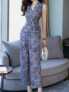 Purple Colorful Slim Printed Wide-Leg Two-Piece Pants V Neck Plus Size Jumpsuit for Casual Party Evening