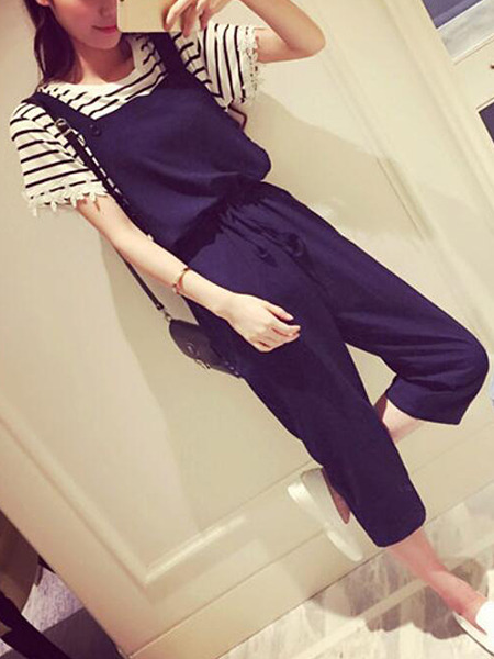 Navy Blue Loose Sling Siamese Two Piece Pants Plus Size Jumpsuit for Casual Party