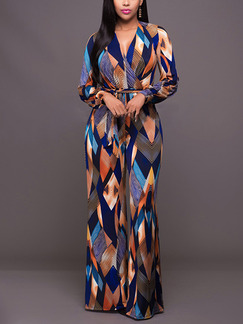 Colorful Slim Printed Band Siamese Long Sleeve V Neck Jumpsuit for Party Evening Cocktail