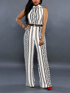 37865ae7d8e White Slim Printed Wide-Leg Siamese Plus Size Jumpsuit for Party Evening  Cocktail
