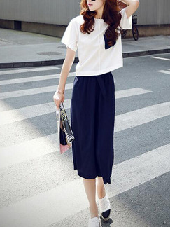 White and Navy Blue Loose Wide-Leg Two-Piece Pants Jumpsuit for Casual Party