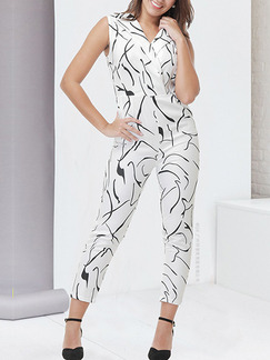 2a8f33948fc White Slim Lapel Printed Siamese V Neck Jumpsuit for Party Evening Casual
