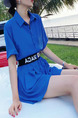 Royal Blue Loose Letter Wide-Leg Siamese Short Jumpsuit for Casual