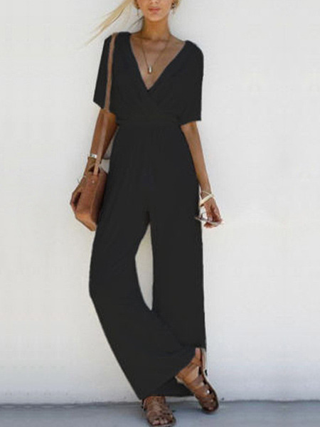 Black Slim High Waist Wide-Leg Siamese V Neck Jumpsuit for Casual Beach