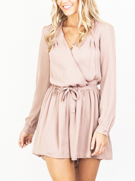 Pink  Loose Band Siamese V Neck Wrap Long Sleeve Shorts Jumpsuit for Casual Party