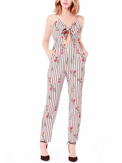 Light Gray and White Slim Printed Stripe Siamese Slip Jumpsuit for Casual Party
