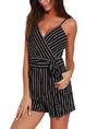 Black and White Slim Stripe Band Siamese Slip V Neck Jumpsuit for Casual Party