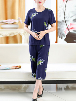 Navy Blue Loose Embroidery Wide-Leg Two Piece Jumpsuit for Casual Party