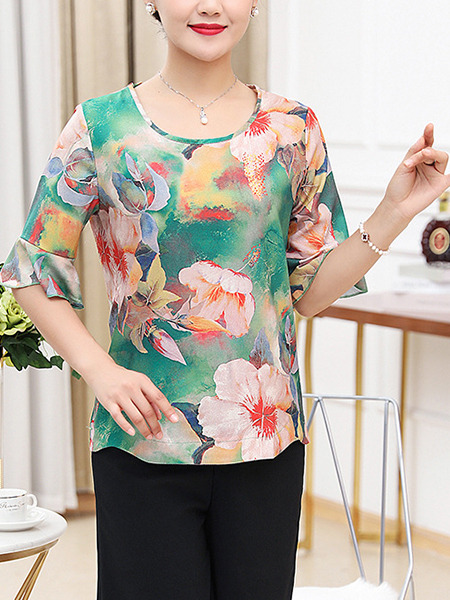 Colorful and Black Loose Printed Flare Sleeve Wide-Leg Two Piece Shorts Floral Plus Size Jumpsuit for Casual Party