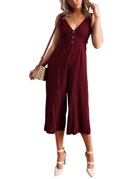 Wine Red Slim Open Back Wide-Leg Pants V Neck Jumpsuit for Casual Party Evening