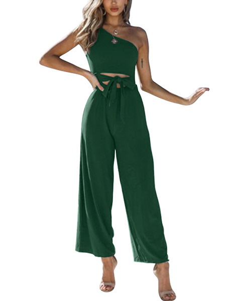 Green Slim Inclined-Shoulder Wide-Leg Pants Jumpsuit for Casual Party Evening