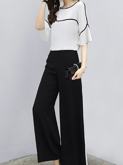 White and Black Loose Contrast Linking Wide-Leg Pants Jumpsuit for Casual Party Office Evening
