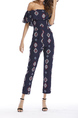 Navy Blue Slim Printed Clack Ruffle Off Shoulders Jumpsuit for Casual Party Office Evening