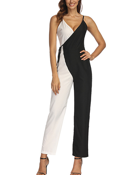 Black and White Slim Contrast Linking Band V Neck Slip Jumpsuit for Party Evening Cocktail