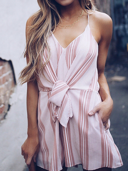 Pink Slim Stripe Band V Neck Slip Jumpsuit for Casual Party Beach