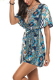Blue and Colorful Slim V Neck Band Belt Printed Shorts Jumpsuit for Casual Party