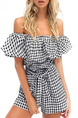 Black and White Slim Plus Size Off-Shoulder Grid Adjustable Waist Plus Size Jumpsuit for Casual Party Beach