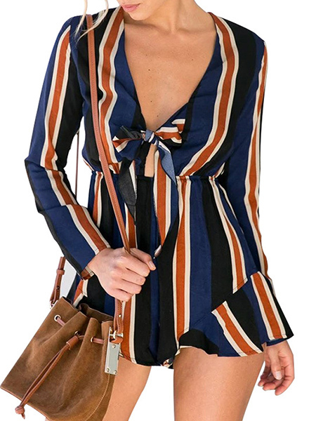 Blue White and Orange Slim Plus Size V Neck Stripe Long Sleeve Jumpsuit for Casual Party Beach
