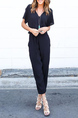 Black Slim V Neck Chiffon Adjustable Waist Pants Jumpsuit for Casual Party