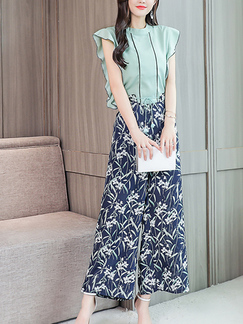c716390d1fd2 Green and Blue and Colorful Slim Two-Piece Plus Size Wide leg Chiffon  Printed Drawstring