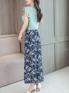 603505262c35 ... Green and Blue and Colorful Slim Two-Piece Plus Size Wide leg Chiffon  Printed Drawstring