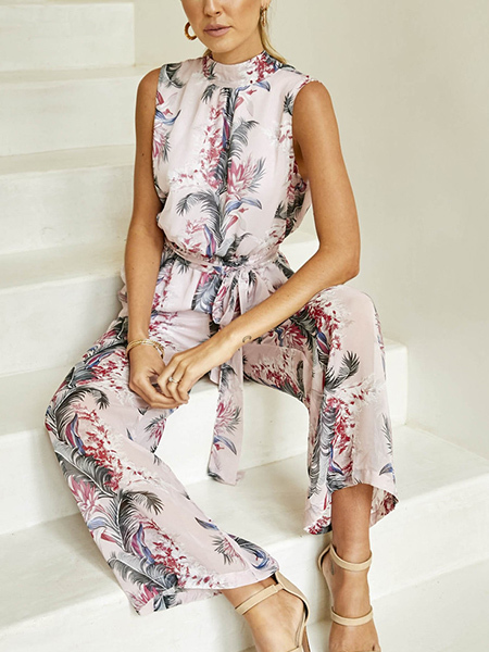 Colorful Slim Hang Neck Open Back Adjustable Waist Printed Floral Jumpsuit for Party Evening Cocktail