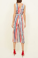 Colorful Slim Wide Leg V Neck Band Belt Stripe Printed Jumpsuit for Casual Party