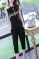 Black and White Slim Plus Size Two-Piece Round Neck Linking Located Printing Jumpsuit for Casual Sporty
