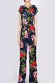 Navy and Colorful Slim Plus Size Round Neck Wide Leg Linking Band Printed Floral Jumpsuit for Casual Party