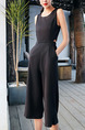 Black Slim Round Neck Off-Waist Wide-Leg Zipper Back Pockets Siamese Jumpsuit for Casual Party Evening