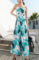 White Colorful Slim Printed Strapless Off-Shoulder High-Waist Wide-Leg Open Back Siamese Jumpsuit for Casual Beach