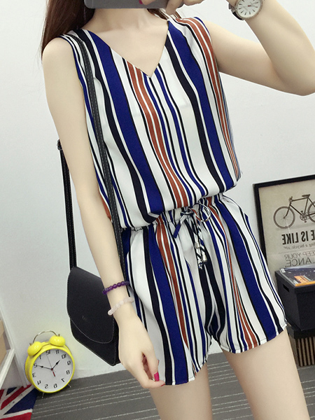 Colorful Two-Piece Shorts Plus Size Loose Contrast Stripe V Neck Adjustable Waist Band Belt Wide Leg Jumpsuit for Casual Party