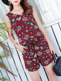 c34d10e0d9a2 Red Colorful Two-Piece Shorts Floral Plus Size Loose Printed V Neck  Adjustable Waist Band