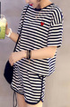 Black and White Loose Contrast Stripe Jumpsuit for Casual