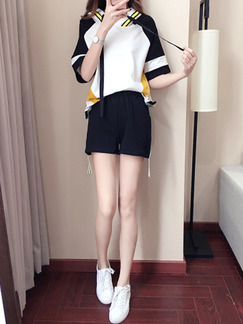 Black and White Loose Hooded Contrast Linking Jumpsuit for Casual