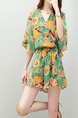 Green and Orange Loose Printed Siamese Jumpsuit for Casual