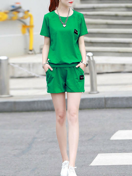 Green Loose Pure Color Two-Piece Plus Size Jumpsuit for Casual Sporty